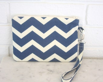 Large Wristlet, Blue and Creamy White Chevron , Clutch, Wallet, Pouch