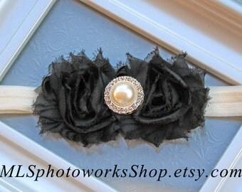 Black & Ivory Baby Girl Headband - Shabby Chic Christmas Hair Bow in Ivory and Black - Baby Girl Black Christmas Headband - Black Flower Bow
