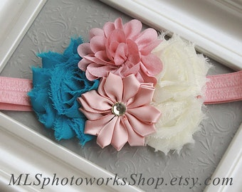 Country Girl Chic Flower Headband - Baby Girl Hair Bow in Rose Pink, Ivory and Peacock Blue - Soft Satin & Chiffon Flower Headband
