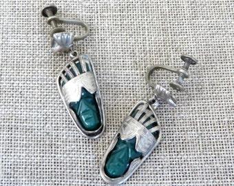 Vintage Earrings Mexican Mask Silver Alpaca Green Obsidian