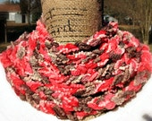 Handmade Coral and Brown Rustic Chain Infinity Scarf