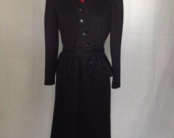 Noir Peplum Dress 1980s S/M