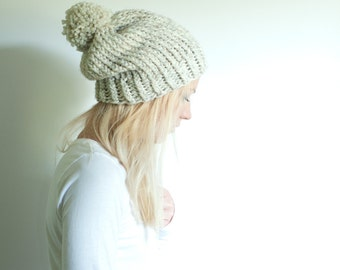 chunky knit womens slouchy hat beanie pom hat - wheat - the SOLOMON