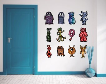 Monster decals - Fabric adhesive decals- Medium Size