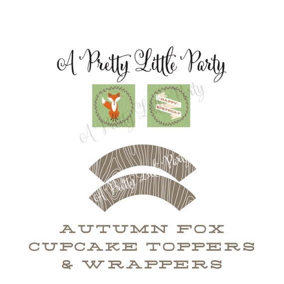 FOX Cupcake Toppers & Wrappers  - Woodland Fox Digital files - Party Supplies - INSTANT DOWNLOAD
