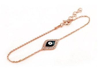 Free Domestic Shipping Sterling Silver Rose Gold Color Dark Blue Evil Eye Bracelet Pink, Rose, Dark Blue, CZ, Cubic Zirconia, Evil Eye