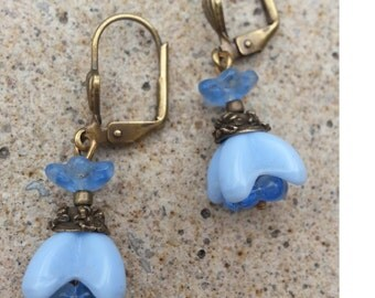 Dainty Petite Light Blue Glass Flower Lever back drop Minimalist Earrings