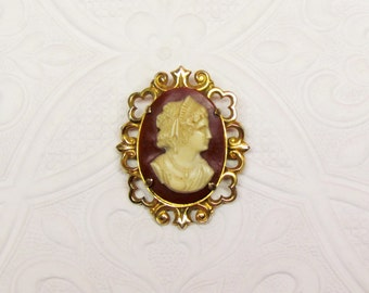 Vintage celluloid cameo, classical style woman on 1920's Victorian Revival  cameo