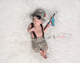 Newborn Fishing Outfit, Baby Fisherman, Little Fisherman Set, Boy, Pants, Hat, Fish, Gray, Brown, Natural, Newborn Photo Prop, Ready to Ship