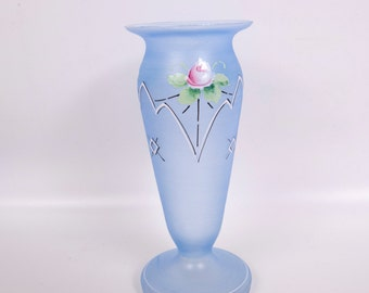 Vintage Bristol Glass Vase Footed Blue Satin Hand Painted Floral