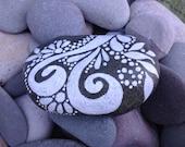 Reach / White Zen series / Painted Rock / Sandi Pike Foundas / beach stone from Cape Cod