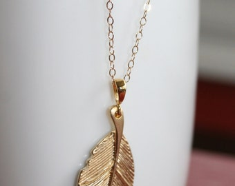 Gold Leaf Necklace 14kt gold Chain
