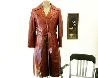 1970s Ladies Leather Trench Coat Vintage 70s Full Length Womens Oxblood Leather Jacket with Belt & Super Wide Lapels