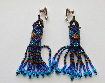 Native Inspired Blue Beaded Earrings