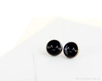 Black stud cat emoticon earrings, cat emoticon jewelry, cat jewelry, cat studs, text emoticon, cat posts, black earrings, cat face, geek