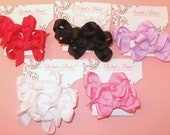 Made to order, you choose SOLID colors! Set of 12 mini boutique hair bows, infant, toddler, hairbows, hairtie, clip, hairclip, barrette