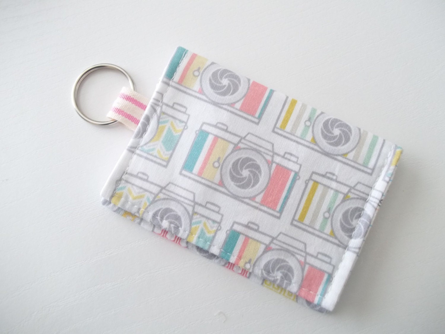 Camera keychain wallet cute business card holder for Keychain business cards