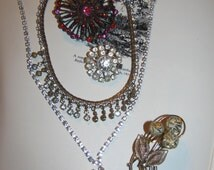 Vintage Rhinestone Jewelry Lot  Detash,Crafts,Upcycle,Distress