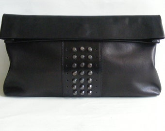 Leather Clutch. In stock. Lunch Bag. Black Studded Leather Lunch Sack. Leather paper bag. Bags and Purses. dECOnstructionLab