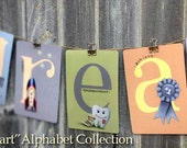 """Set of ALL 44 Designs from the Young at Heart Collection Illustrated Alphabet Letters 5"""" X 7"""" ~ Name or Word Garland Banner Frame-able"""