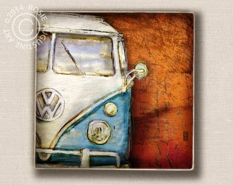 VW Volkswagon Bus Retro Blue Art Block 6x6 Wall Tile