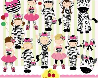 Zebra Costume Little Girls Digital Clipart Set-Personal and Commercial Use-paper crafts,card making,scrapbooking,web design
