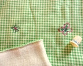 butterfly embroidered green checked fleece -- 60 wide by 1 yard
