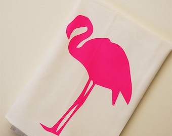 Pink Flamingo Dish Towel, Flamingo Flour Sack Towel, Gift For Cook, Hand Screen Printed
