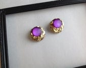 Vintage Circle Earrings, Vintage Gold and Purple Earrings, Plastic Earrings, Vintage Earrings, Vintage Clip On Earrings
