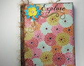 Floral Journal, Altered Notebook, Memory Book, Diary, Journal, Scrapbook, Special Notebook
