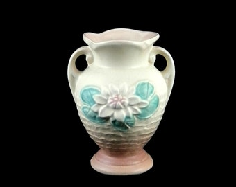 Hull Pottery Water Lily Vase L-1 Tan over Light Rose - Vintage 1940s 1950s Art Pottery