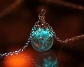 "Small Dandelion seeds Glass Bubble pendant  ""GLOW in the DARK"""