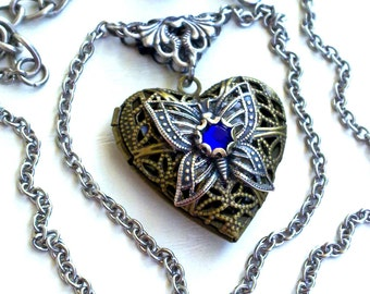 Gothic Heart Locket Pendant Necklace Cobalt Blue Crystal Brass Locket Heart Shaped Locket Victorian Gothic Jewelry