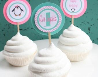 PENGUIN ONEDERLAND Birthday or Baby Shower Cupcake Toppers 12 {One Dozen}