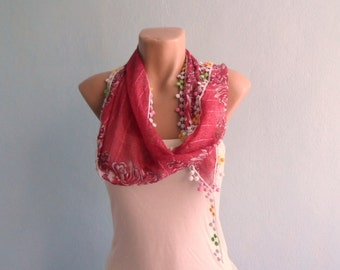 Red Scarf, Summer Scarf, Women Scarves, Cotton Scarf, Floral Scarf