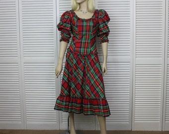 Vintage Tartan Taffeta Long 1980s Dress by Barbara Barbara California