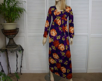 Vintage 1960s Long Maxi Dress Floral Hippie Boho