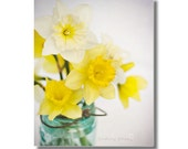 Daffodil Bouquet Mason Jar Photograph, Yellow White Daffodils Bathroom Decor, Sunshine Yellow, Aqua Mason Jar Vase Art, Nursery Photography