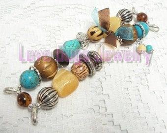 Tahiti Treasure - Interchangeable Watch Band, Blue, Brown and Cream Chunky Beaded Interchangeable Watch Band