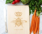 Queen Bee cutting board. French country home decor. Solid maple hard wood.