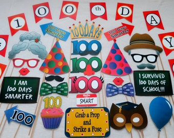 PDF - 100th Day of School Photo Booth Props- PRINTABLE / DIY