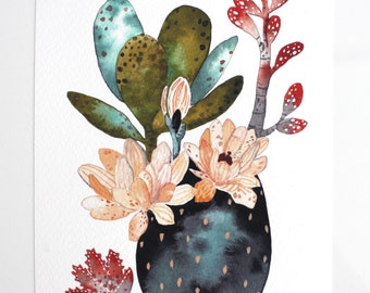 Cactus Succulent Painting, Watercolor Art, Archival Art Print - Desert Collection