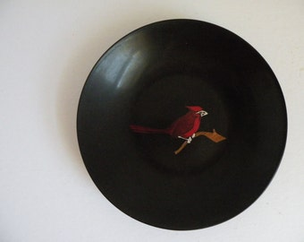 Vintage Couroc of Monterey Dish with Red Cardinal Bird