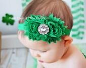 Emerald Green Shabby Flower Rose Headband With Stunning Rhinestone Center - Photo Prop - Gift - St. Saint Patricks Day
