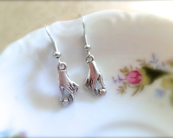 Silver Victorian Hand with Stone Earrings. Dangle Earrings. Under 10 Gifts for Her. Elegant. Simple. Unique Silver Earrings. Art Deco.