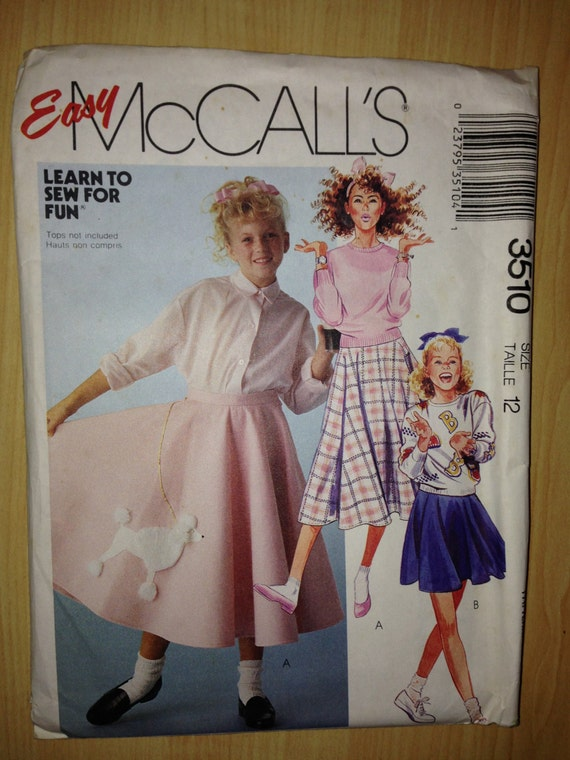 McCalls 80s Sewing Pattern 3510 Girls Skirt and Applique Size 12
