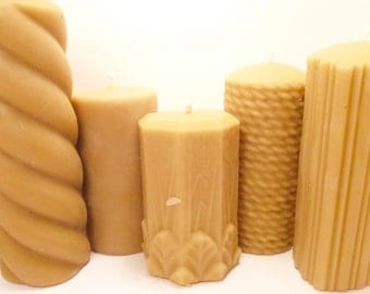 Beeswax Candles -5 Beeswax Pillars- Rope, Flowers and Leaves, Smooth,Spiral, Fluted Heart-  (Each BURNS FOR 40-90 HOURS)