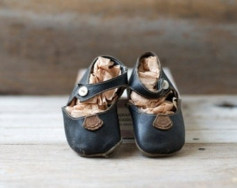 Vintage Baby Black Leather Shoes Nursery Decor