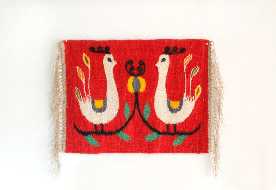 Vintage Polish Kilim Wool Handwoven Tapestry Rug Mid