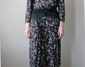 1980s Floral Midi-Maxi Dress Long Sleeves
